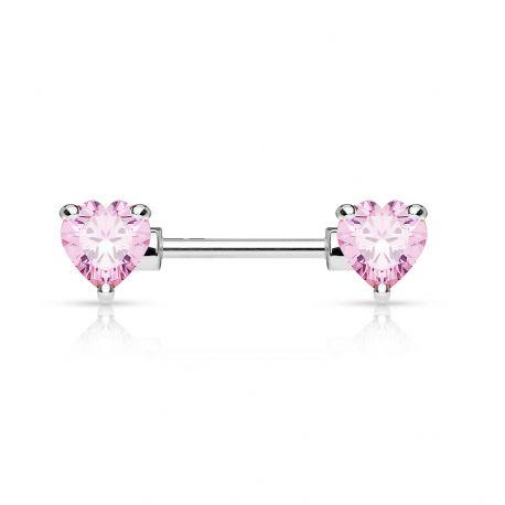 Piercing téton double coeur rose