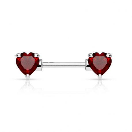 Piercing téton double coeur rouge
