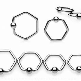 Piercing anneau Captif Hexagone