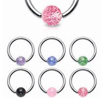 Piercing anneau boule à paillettes