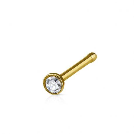 Piercing nez tige droite cristal acier doré