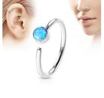 Piercing nez anneau opale bleue