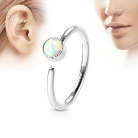 Piercing nez anneau opale blanche
