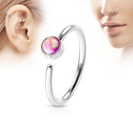 Piercing nez anneau opale rose
