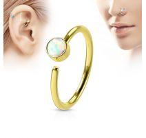 Piercing nez anneau doré opale blanche