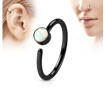 Piercing nez anneau noir opale blanche
