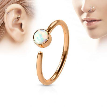 Piercing nez anneau or rosé opale blanche