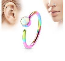 Piercing nez anneau multicolore opale blanche