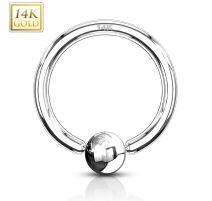 Piercing anneau captif or blanc