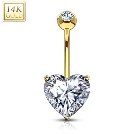 Piercing nombril Or jaune 14 carats Pierre blanche en Coeur
