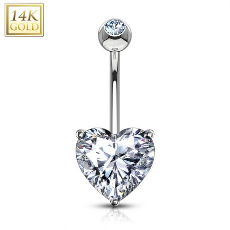 Piercing nombril Or Blanc 14 carats Coeur blanc
