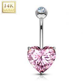 Piercing nombril Or Blanc 14 Carats Coeur rose