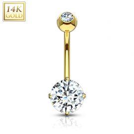Piercing nombril Or 14 carats serti d'une pierre ronde blanche
