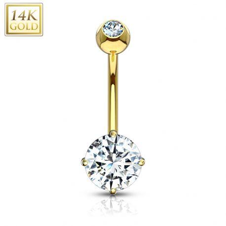 Piercing nombril Or jaune 14 carats serti d'un zircon rond blanc