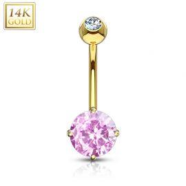 Piercing nombril Or 14 carats serti d'une pierre ronde rose