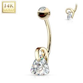 Piercing nombril Or jaune 14 carats pierre triangle