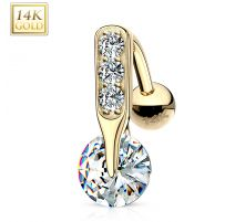 Piercing nombril inversé Or 14 carats Solitaire