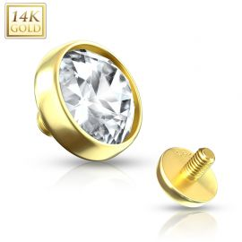 Piercing microdermal Or jaune 14 Carats zirconium