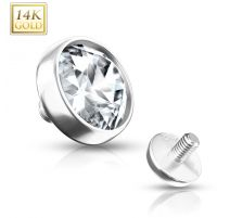 Piercing microdermal Or blanc 14 Carats zirconium