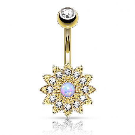 Piercing nombril petite fleur opale plaqué or