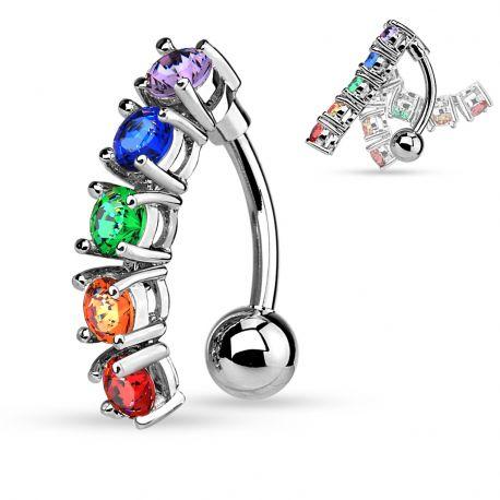 Piercing nombril inversé cinq gemmes rainbow