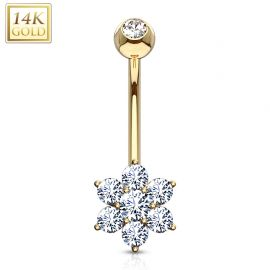 Piercing nombril Or 14 carats Fleur