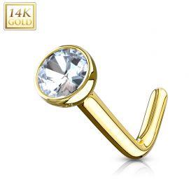 Piercing nez Or jaune 14 carats gemme tige en L