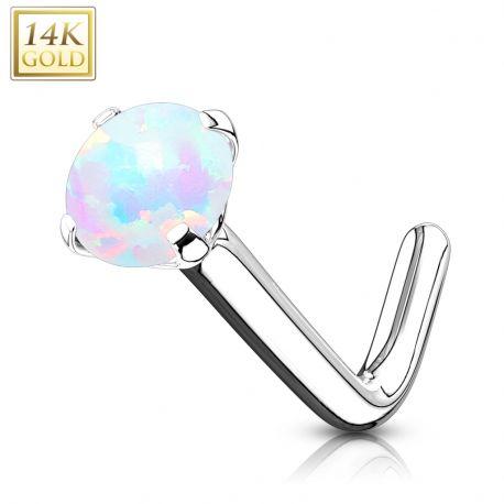 Piercing nez Or blanc 14 carats opale tige en L