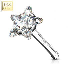 Piercing nez Or Blanc 14 Carats tige droite étoile blanche