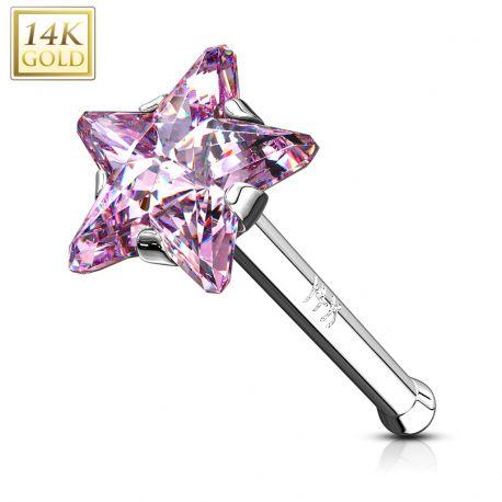 Piercing nez Or Blanc 14 Carats tige droite étoile rose