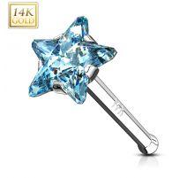 Piercing nez Or Blanc 14 Carats tige droite étoile turquoise