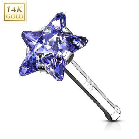 Piercing nez Or Blanc 14 Carats tige droite étoile tanzanite