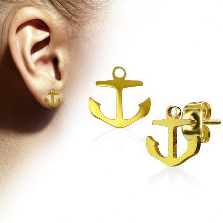 Paire boucles d'oreilles clous anre marine doré