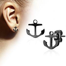Paire boucles d'oreilles clous ancre marine noir