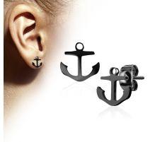 Paire boucles d'oreilles clous anre marine noir