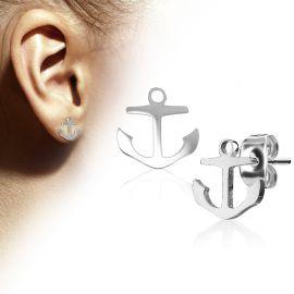 Paire boucles d'oreilles clous ancre marine argenté