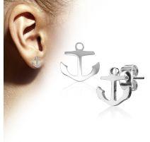 Paire boucles d'oreilles clous anre marine argenté