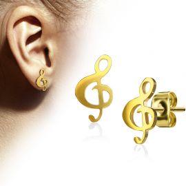 Paire boucles d'oreilles clous clef de sol doré