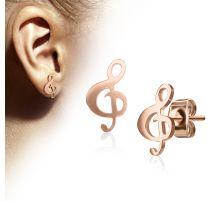Paire boucles d'oreilles clous clef de sol or rose