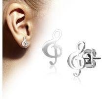 Paire boucles d'oreilles clous clef de sol argenté