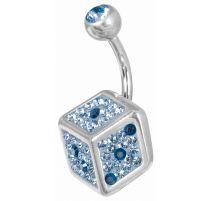 Piercing nombril Crystal Evolution Swarovski Dé bleu