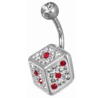 Piercing nombril Crystal Evolution Swarovski Dé rouge