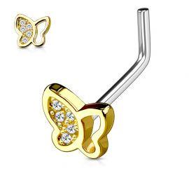 Piercing nez tige en L papillon doré