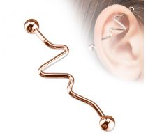 Piercing oreille Industriel ZigZag Or Rose