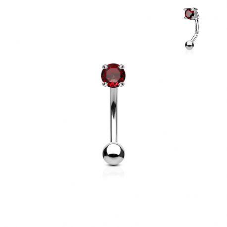Piercing arcade zircon rond rouge