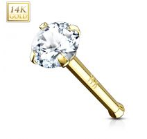 Piercing Nez Or jaune 14 Carats Gemme de 3 mm