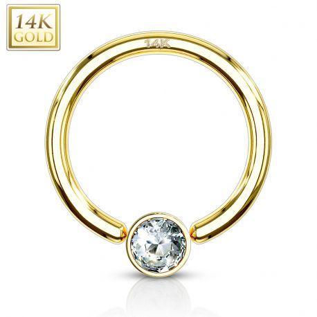 Piercing anneau captif Or Jaune 14 Carats strass