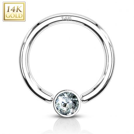 Piercing anneau captif Or blanc 14 Carats strass