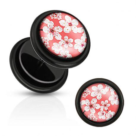 Piercing faux plug fleur de cerisier rouge