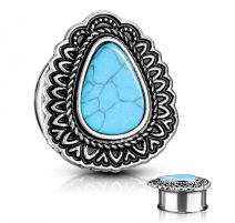 Piercing tunnel larme turquoise